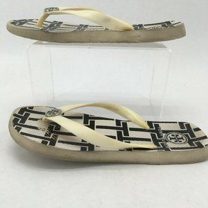 Tory Burch Womens Flip Flop Sandals Printed T Logo